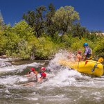 Adventure swimming with the raft on the South Fork American River
