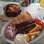 """The """"politiko kebab"""" and -in the back the """"Lagoudera"""" specialty"""