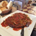 Steak and mushrooms - red sauce