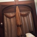 11 foot high pocket door swag, twin bed side of room. 1830s hand made double bed +seating area o