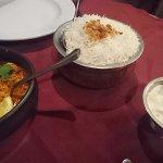 prawn masala, rice and raita