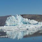 Many icebergs in the fjord near Saattut