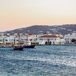 The Mykonos town view from Roca