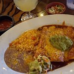 Enchiladas with a combination of chicken and Chile Colorado...