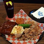 The pulled pork plate with an add-on of ribs.