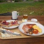 Gluten-free breakfast with a hillside view