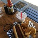 Really tasty hot dog, homemade fries, hand-spun milk shake and gourmet ketchup!