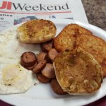 Eggs OE, Hash Browns, Andouille Sausage and English Muffin