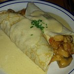 seafood crepe with cream sauce