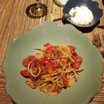 Tomato and olive spaghetti which the kitchen cooked to order