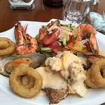 Mixed Grilled seafood plate looks good but taste poor