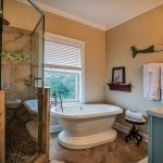 Outstanding bath with huge walk in shower and soaker tub.