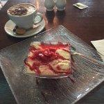 Tiramisu with Strawberries and a Cappucino coffee