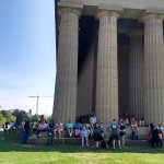 Sitting in the shade at the Parthenon in Centennial Park