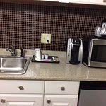 Fridge, microwave, sink, coffee maker, room 412