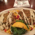 Sloppy, tasteless crab cakes w/sauce that did nothing (over CORN???)