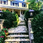 Old boxwoods and flowers adorn the entrance ..