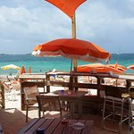 The famous orange umbrellas looking out onto Orient beach.