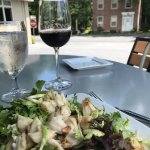 Jumbo lump crab salad, pinot noir and a charming view.