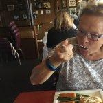 Tasting the halibut.