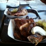 1/2 Chicken and 1/2 Lb of Ribs w/ fixings and bread! YUM
