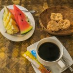 Fresh fruits, rice crispies and coffee