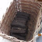 Basket of peat for fuel