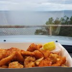 Take away seafood basket, with a view