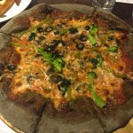go green and black pizza. this is for vegetarian or people who loves vegetable