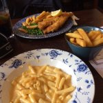 Fish & chips, macaroni cheese & chips.