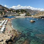 White parasols are the Sant Andrea beach