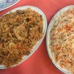 Arroz con especias y arroz con champiñones