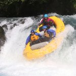 Going over Husum Falls