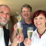 Enjoying a glass of champagne with Sally-Ann and Rob