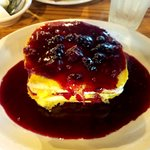 French Toast layered with butter and blackberry topping and then doused with Maine Wild Blueberr