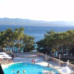 View from balcony of pool and Adriatic Sea from 3rd floor D block