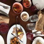 Piri piri prawns, walnut chickpea spread, calamari, potatoes, baguette and sangria