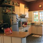 Kitchen area. Available for guests - mugs, hot water, tea, coffee, sugar. Milk in fridge.
