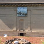 Outdoor nest & egg exhibit offered as an environmental lesson.