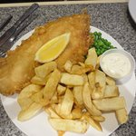 Regular size order of fish and chips. 2 people shared this