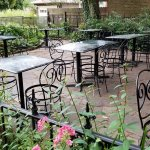 Outdoor seating in the beautiful courtyard.
