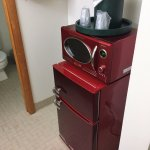 """""""Retro"""" mini fridge and microwave - a nice touch"""