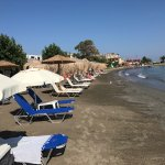 Megali beach: space between sun beds & not crowded.