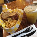 Mango mate tea, breakfast sandwich and a Reuben! Delicious!