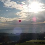 Clear view of another balloon on a similar course