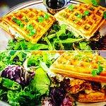 Grilled chicken and cheese waffle! Absolutely perfect for brunch!!!