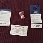 "Mints, ""I Care"" cards, and the tip envelope!"