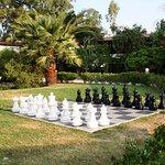 Giant chessboard in gardens - kids loved it.