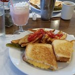 Grilled cheese and a strawberry milkshake