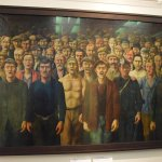 Workers sing the International in this painting by Otto Griebel at the German History Museum, Be